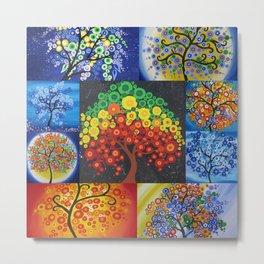 beautiful bright tree design designs artwork black green red yellow tree of life trees Metal Print