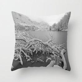 Wintry Lake Bohinj Throw Pillow