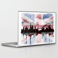 british flag Laptop & iPad Skins featuring Great British Flag London Skyline 2 by Paint the Moment