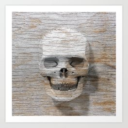 Wood Skull 03 Art Print