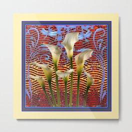 Decorative  Art Nouveau Ivory Lilies Design Metal Print
