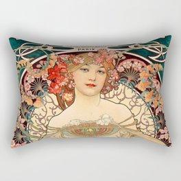 Mucha Daydream Art Nouveau Edwardian Woman Floral Portrait Rectangular Pillow