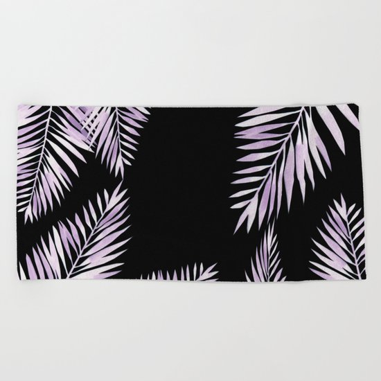 Watercolor tropical palm leaves purple Beach Towel