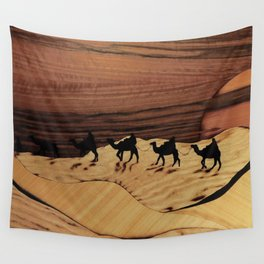 Desert or Sahara of wood marquetry art landscape picture Wall Tapestry