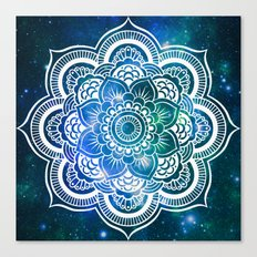 Mandala : Blue Green Galaxy Canvas Print