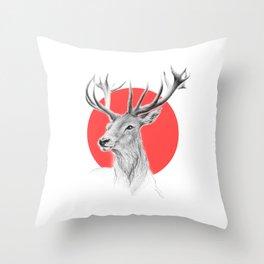 Deer | red Throw Pillow