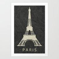 paris Art Prints featuring Paris by NJ-Illustrations