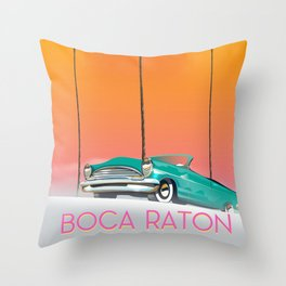 Boca Raton Florida travel poster Throw Pillow