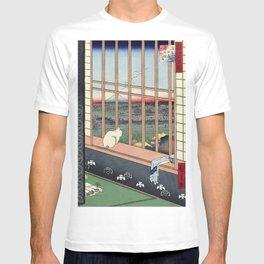 Utagawa Hiroshige Japanese Woodblock Cat Print T-shirt