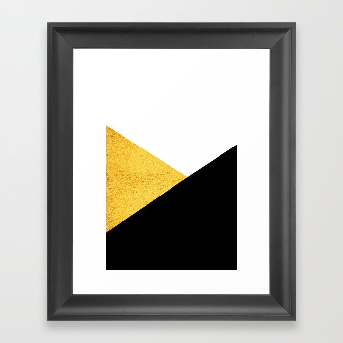 Gold & Black Geometry Gerahmter Kunstdruck