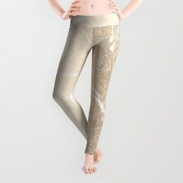 Paris France Minimal Street Map - Gold on White Leggings