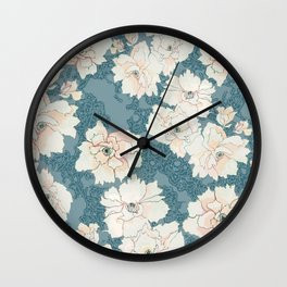 Teal and Peach Peony Floral Wall Clock