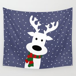 Reindeer in a snowy day (blue) Wall Tapestry
