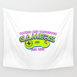 Father and Daughter Gamers For Life Wall Tapestry