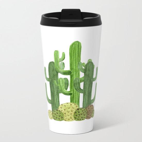 Desert Vacay Three Cacti Metal Travel Mug