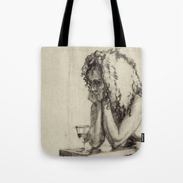 'The Unwinding' Charcoal Drawing Nude woman drinking Wine Tote Bag