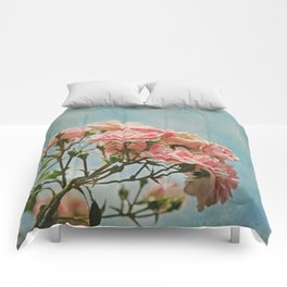 Vintage Inspired Pink Roses in Pastel Blue Sky with French Script Comforters