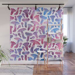Hand painted pink teal watercolor mushrooms pattern Wall Mural