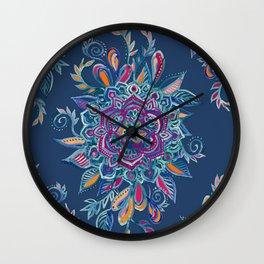 Deep Summer - Watercolor Floral Medallion Wall Clock