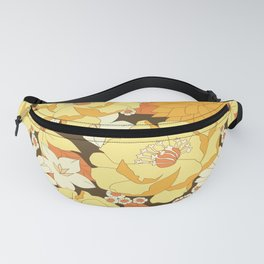 Yellow, Orange and Brown Vintage Floral Pattern Fanny Pack
