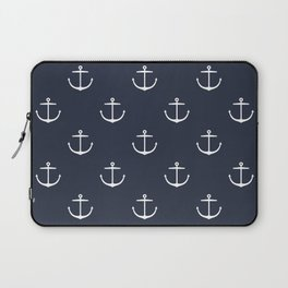 Yacht style. Anchor. Navy blue. Laptop Sleeve