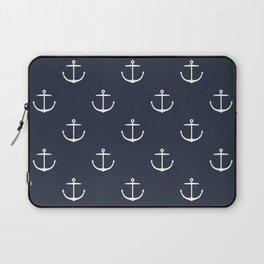 Yacht style. Anchor. Navy blue. Laptop Sleeve