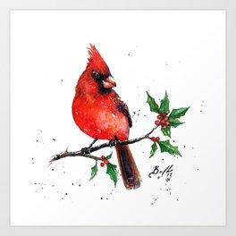 Cardinal + Holly Art Print