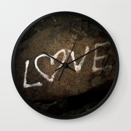 White Love Letters Graffiti on Brown Stone Urban Street Art Wall Clock