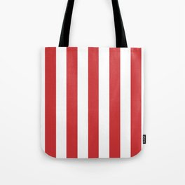 Madder Lake red - solid color - white vertical lines pattern Tote Bag