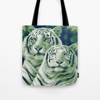 tigers Tote Bags featuring Two Tigers by Thubakabra