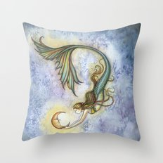 Deep Sea Moon Fantasy Mermaid Art Illustration by Molly Harrison Throw Pillow