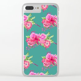 A FLORAL LOVE  (TURQ/LRG) Clear iPhone Case