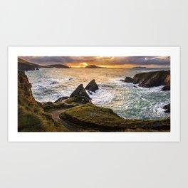 Sunset at Dunquin Pier Art Print