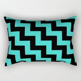 Black and Turquoise Steps LTR Rectangular Pillow