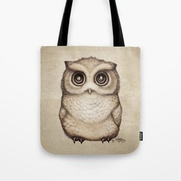 """""""The Little Owl"""" by Amber Marine ~ Graphite & Ink Illustration, (Copyright 2016) Tote Bag"""