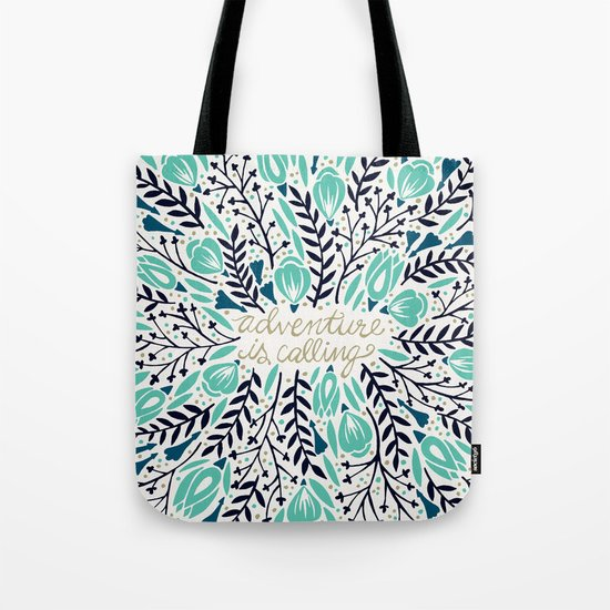 Adventure is Calling – Navy & Mint Palette Tote Bag