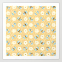 Bumble Bees & Daisies Pattern with Honeycomb Background Art Print