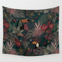 jungle Wall Tapestries featuring Jungle by Kimsa