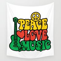 reggae Wall Tapestries featuring Reggae Peace Love and Music by Lisann