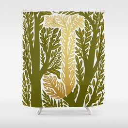 Botanical Metallic Monogram - Letter J Shower Curtain