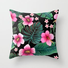 Hibiscus, Plumeria and palm jungle tropical floral Throw Pillow