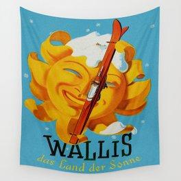 Wallis - Valais Switzerland - German Travel Poster Wall Tapestry