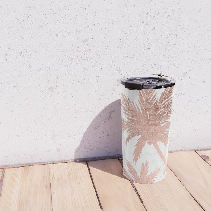 Tropical simple rose gold palm trees white marble Travel Mug