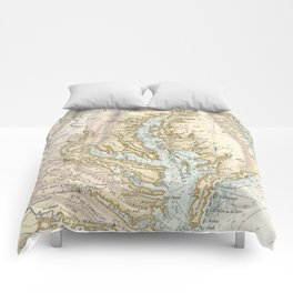 Vintage Map of The Chesapeake Bay(1778) 2 Comforters