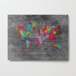 world map 81 dark color mosaic Metal Print