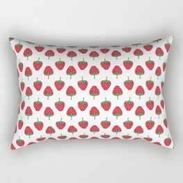 Spring Strawberries on White Rectangular Pillow