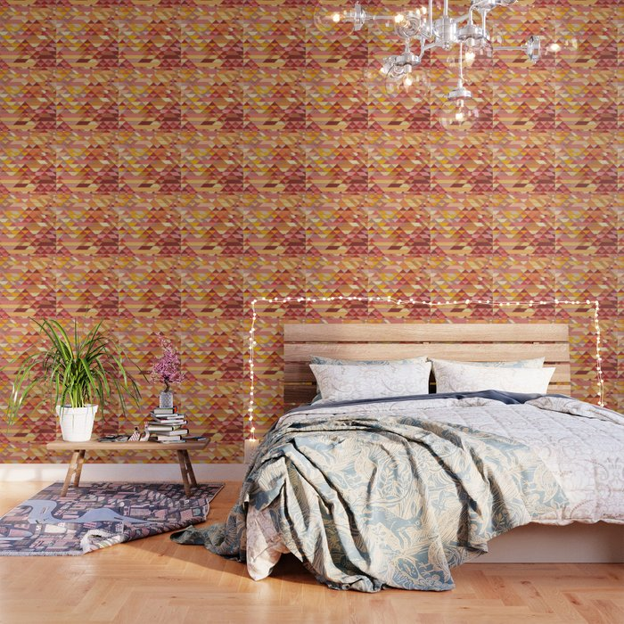 Triangle Pattern no.4 Warm Colors Red and Yellow Wallpaper