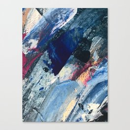 Flourish [1]: a vibrant abstract mixed-media piece in blues, magenta, and gold Canvas Print