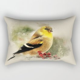 Goldfinch Watercolor Art Rectangular Pillow