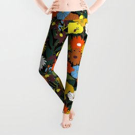 60's Swamp Floral in Midnight Black Leggings